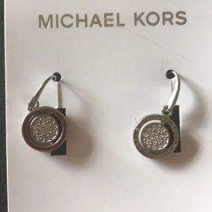 Michael Kors silvertone bangle pierce earrings NWT